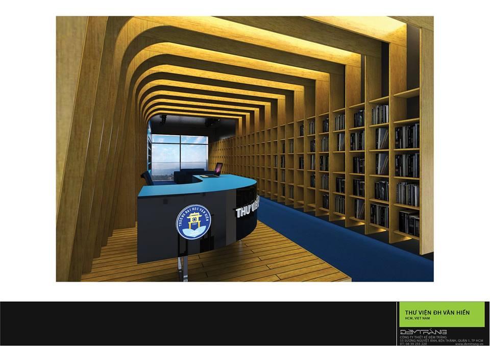 Thiết kế nội thất thư viện ĐH Văn Hiến 01